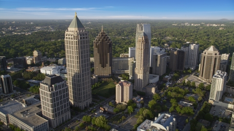 AX39_031.0000216F - Aerial stock photo of The tall towers of Midtown Atlanta, Georgia