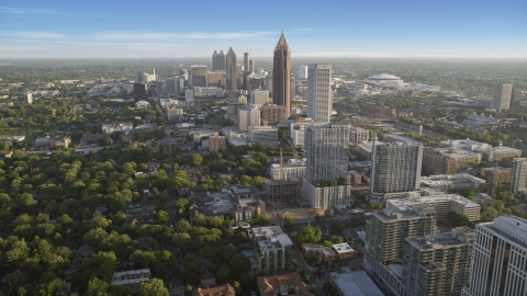 AX39_034.0000160F - Aerial stock photo of Bank of America Plaza and Downtown Atlanta seen from Midtown, Georgia