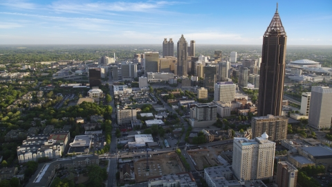AX39_036.0000012F - Aerial stock photo of Bank of America Plaza in Midtown, Downtown Atlanta
