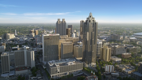 AX39_037.0000299F - Aerial stock photo of SunTrust Plaza and the Atlanta Marriott Marquis, Downtown Atlanta, Georgia