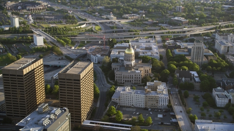 AX39_039.0000120F - Aerial stock photo of Georgia State Capitol, Downtown buildings, Atlanta, Georgia