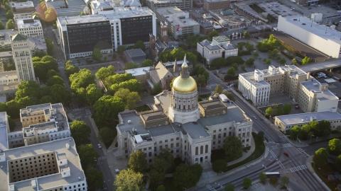AX39_040.0000318F - Aerial stock photo of Georgia State Capitol, Downtown Atlanta, Georgia