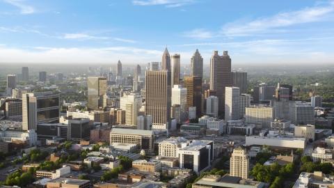 AX39_044.0000008F - Aerial stock photo of Downtown skyscrapers on a hazy day, Atlanta, Georgia