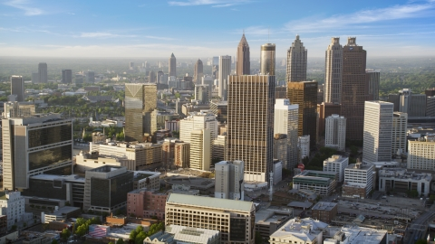 AX39_045.0000026F - Aerial stock photo of Skyscrapers and high-rises, Downtown Atlanta, Georgia