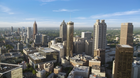 AX39_047.0000006F - Aerial stock photo of Skyscrapers and office buildings, Downtown Atlanta, Georgia