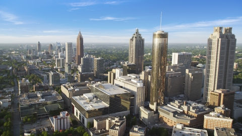 AX39_047.0000078F - Aerial stock photo of SunTrust Plaza and Bank of America Plaza, Downtown Atlanta