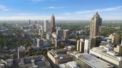 AX39_047.0000233F - Aerial stock photo of Sun Trust Plaza, Bank of America Plaza, Downtown Atlanta