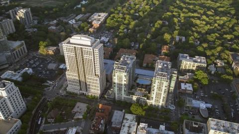 AX39_052.0000153F - Aerial stock photo of 999 Peachtree Street and condominium complex, Midtown Atlanta, Georgia