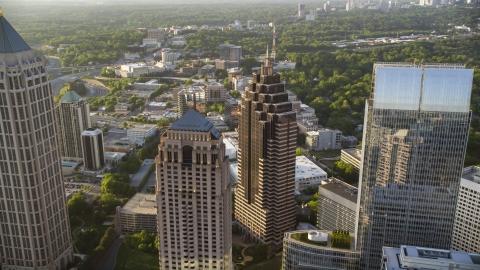 AX39_053.0000133F - Aerial stock photo of Close up of GLG Grand and Promenade II, Midtown Atlanta