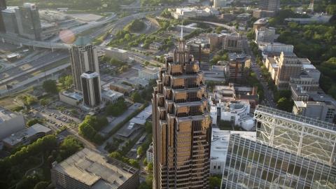 AX39_054.0000062F - Aerial stock photo of Top of Promenade II, Midtown Atlanta, Georgia