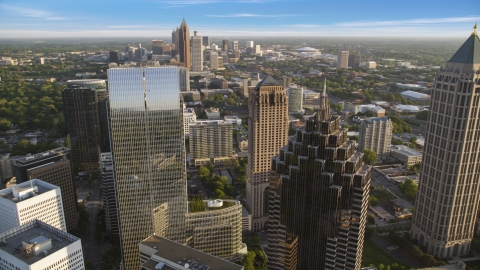 AX39_058.0000161F - Aerial stock photo of Promenade II, 1180 Peachtree, skyscrapers, Midtown Atlanta, Georgia