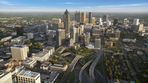 AX39_064.0000067F - Aerial stock photo of SunTrust Plaza and Downtown Atlanta, Georgia