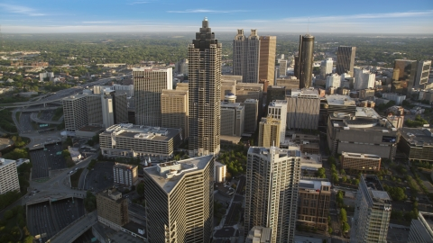 AX39_064.0000359F - Aerial stock photo of SunTrust Plaza and Downtown Atlanta, Georgia