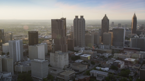 AX39_066.0000162F - Aerial stock photo of Downtown Atlanta skyscrapers, Georgia, sunset