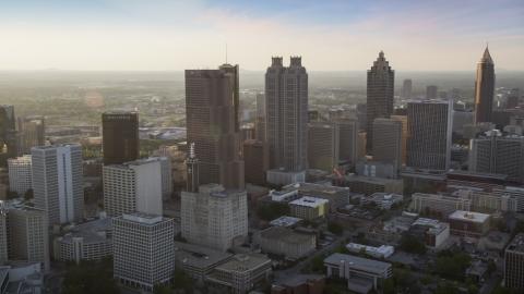 AX39_066.0000162F - Aerial stock photo of Downtown Atlanta skyscrapers, Georgia, sunset