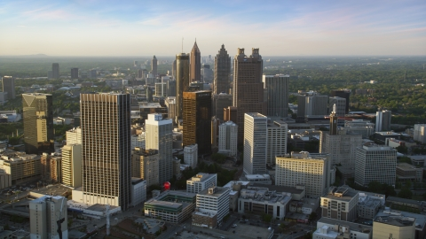 AX39_068.0000051F - Aerial stock photo of Downtown Atlanta skyscrapers and high-rises, Georgia, sunset