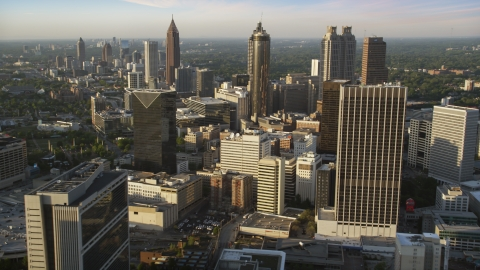 AX39_068.0000365F - Aerial stock photo of Downtown Atlanta skyscrapers and high-rises, Georgia, sunset