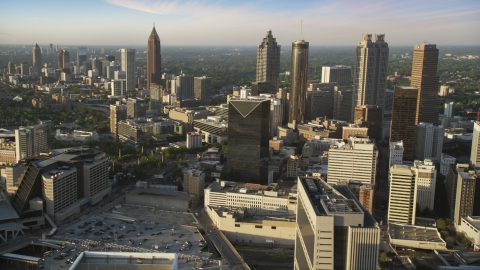 AX39_068.0000526F - Aerial stock photo of Downtown Atlanta skyscrapers and high-rises at sunset, Georgia