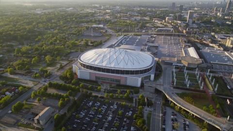 AX39_069.0000040F - Aerial stock photo of The Georgia Dome, Atlanta, Georgia