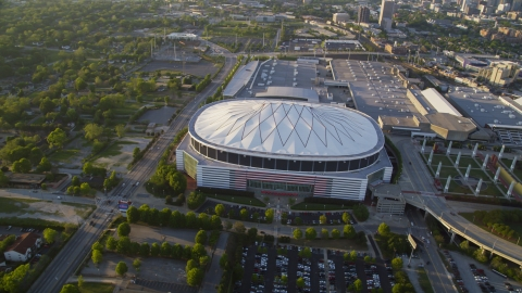 AX39_069.0000125F - Aerial stock photo of The Georgia Dome, Atlanta, Georgia