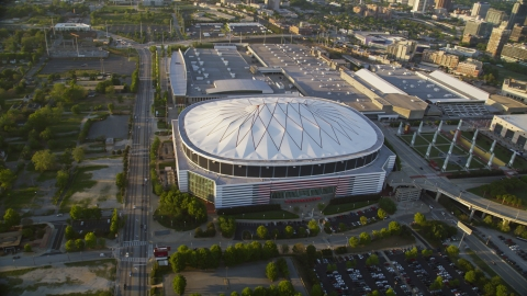 AX39_069.0000223F - Aerial stock photo of Georgia Dome, Atlanta, Georgia