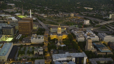 AX40_015.0000000F - Aerial stock photo of The Georgia State Capitol in Downtown Atlanta at twilight