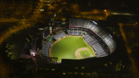 AX41_004.0000209F - Aerial stock photo of Turner Field baseball stadium with empty stands and field, Atlanta, Georgia, night