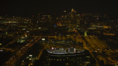 AX41_005.0000000F - Aerial stock photo of Turner Field with Downtown skyscrapers in the distance, Atlanta, Georgia, night