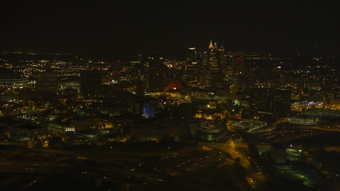 AX41_006.0000461F - Aerial stock photo of The Downtown Atlanta skyline at night, Georgia