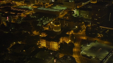AX41_007.0000103F - Aerial stock photo of The Georgia State Capitol in Downtown Atlanta, night