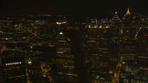 AX41_008.0000153F - Aerial stock photo of Tall skyscrapers in Downtown Atlanta, Georgia, night