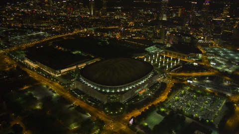 AX41_064.0000000F - Aerial stock photo of Georgia Dome football stadium in Downtown Atlanta, night