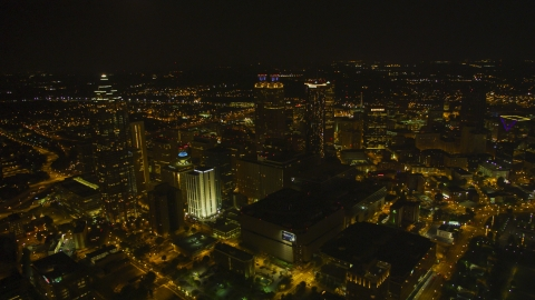 AX41_076.0000037F - Aerial stock photo of A wide view of the city's skyscrapers in Downtown Atlanta, Georgia, night