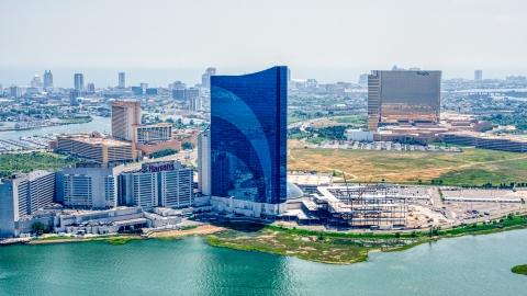 AXP071_000_0012F - Aerial stock photo of Harrah's Resort Atlantic City casino in New Jersey