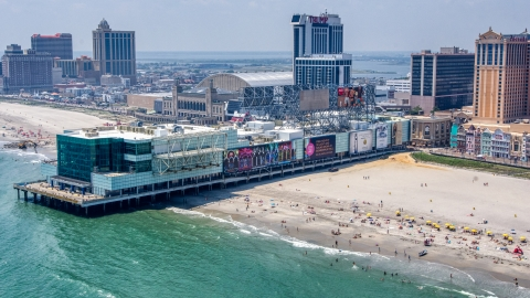 AXP071_000_0015F - Aerial stock photo of Playground Pier in Atlantic City, New Jersey