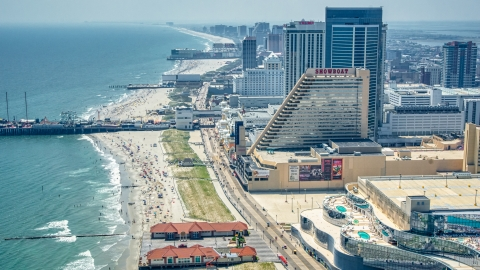 AXP071_000_0020F - Aerial stock photo of Steel Pier and Showboat Atlantic City by the beach, New Jersey