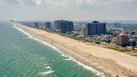 AXP071_000_0022F - Aerial stock photo of Beachfront condominium high-rises in Atlantic City, New Jersey