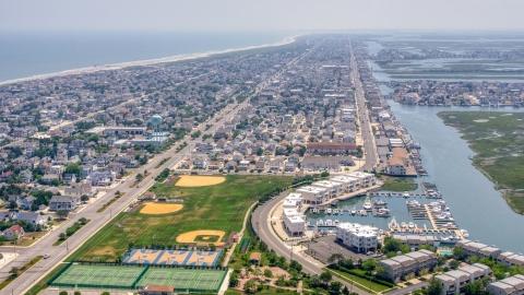 AXP071_000_0028F - Aerial stock photo of Coastal residential neighborhoods in Avalon, New Jersey