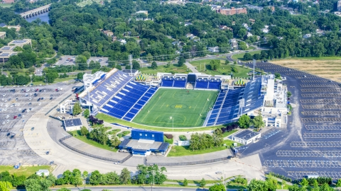 AXP073_000_0002F - Aerial stock photo of The Navy-Marine Corps Memorial Stadium in Annapolis, Maryland