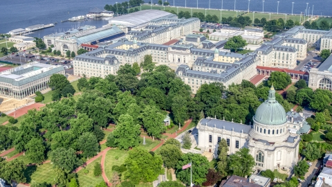 AXP073_000_0004F - Aerial stock photo of The Chapel and Bancroft Hall at the United States Naval Academy in Annapolis, Maryland