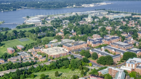 AXP073_000_0005F - Aerial stock photo of State government buildings and the United States Naval Academy, Annapolis, Maryland