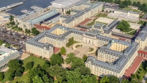 AXP073_000_0006F - Aerial stock photo of Bancroft Hall and Tecumseh Court at US Naval Academy, Annapolis, Maryland