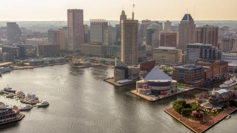 AXP073_000_0010F - Aerial stock photo of Harborplace and Downtown Baltimore skyscrapers, Maryland