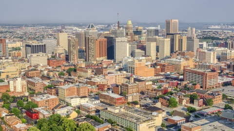 AXP073_000_0011F - Aerial stock photo of Skyscrapers and high-rises in Downtown Baltimore, Maryland