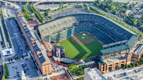 AXP073_000_0019F - Aerial stock photo of Oriole Park at Camden Yards, Downtown Baltimore, Maryland