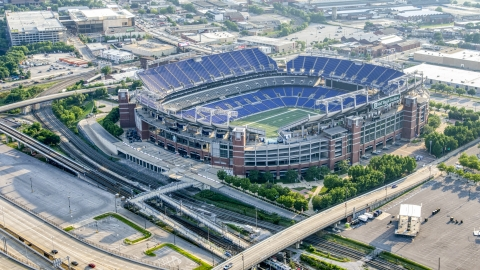 AXP073_000_0020F - Aerial stock photo of M&T Bank Stadium in Baltimore, Maryland