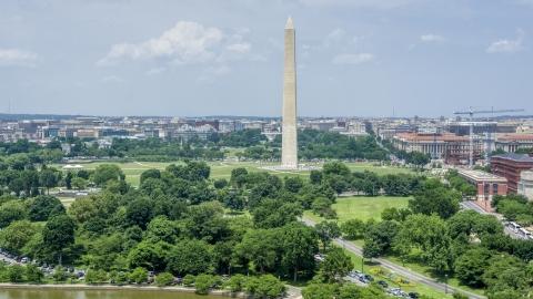 AXP074_000_0006F - Aerial stock photo of The Washington Monument in Washington DC