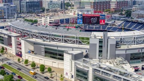 AXP075_000_0005F - Aerial stock photo of Nationals Park baseball stadium in Washington DC