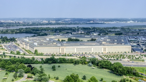 AXP075_000_0021F - Aerial stock photo of The Pentagon in Washington DC