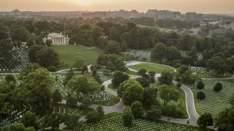 AXP076_000_0021F - Aerial stock photo of Arlington House and John F. Kennedy Gravesite at Arlington National Cemetery, Virginia, twilight